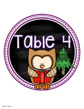 Table Numbers Signs Owl Theme