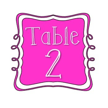 Table Number Signs - Pink