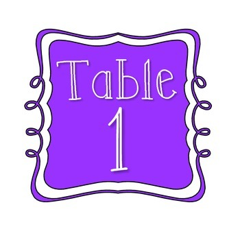 Table Number Signs - Purple