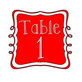 Table Number Signs - Red