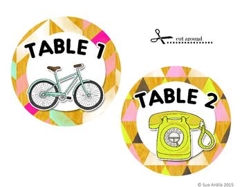 Table Signs - Retro theme