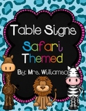 Table Number Signs-Safari Themed