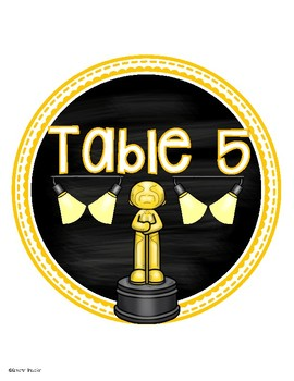 Table Numbers Signs Hollywood Movies Theme