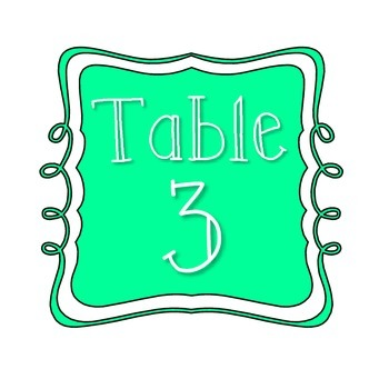 Table Number Signs - Teal
