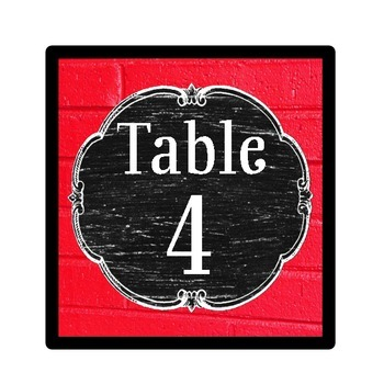 Table Number Signs - Vintage Schoolhouse Chalkboard Theme