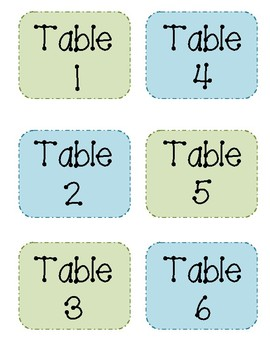 Table Number Tags