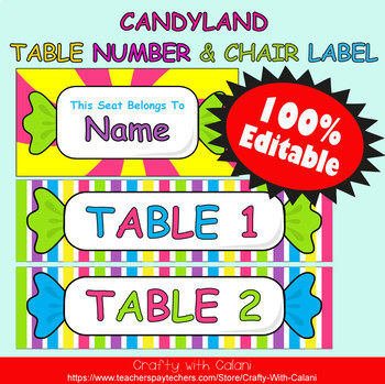 Table Number and Chair Labels in Candy Land Theme - 100% Editble