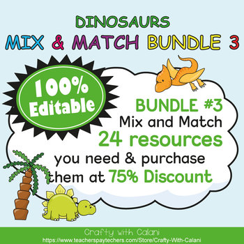 Table Number and Chair Labels in Cute Dinosaurs Theme - 100% Editble