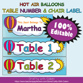 Table Number and Chair Labels in Hot Air Balloons Theme -