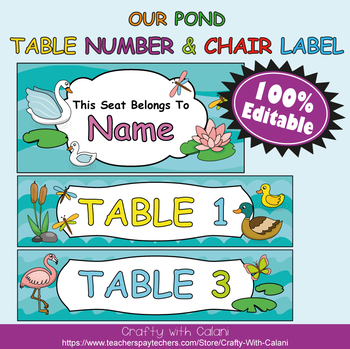 Table Number and Chair Labels in Our Pond Theme - 100% Editble