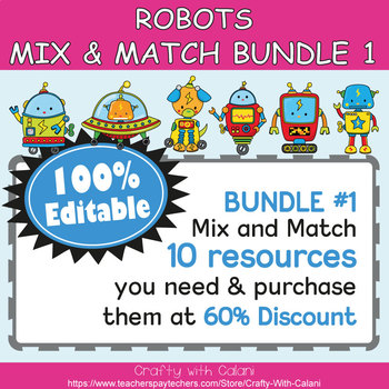 Table Number and Chair Labels in Robot Theme - 100% Editble