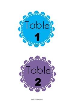 Circle Table Numbers 1-10