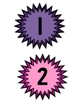 Table Numbers 1-10 Color