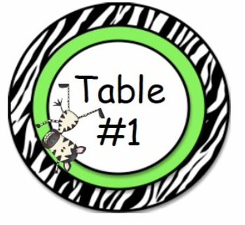 Table Numbers - 1- 10 ZebraThemed Printable
