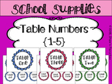 Table Numbers {1-5}