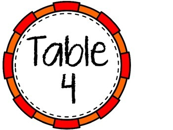Table Numbers 1-5