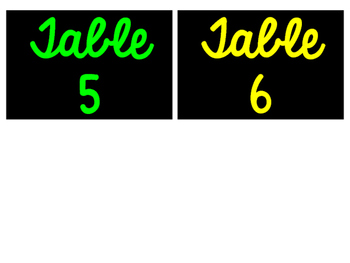 Table Numbers 1-6 Neon and Black & White Versions