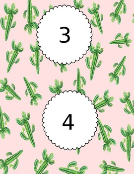 Table Numbers (1-6) Succulents Theme