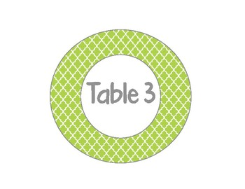 Table Numbers 1-6 Teal, Pink, and Lime