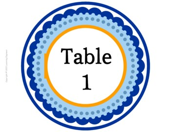 Table Number Signs: Group Numbers