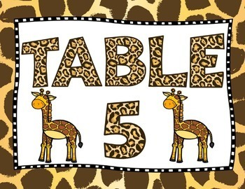 Jungle Theme Table Number Signs