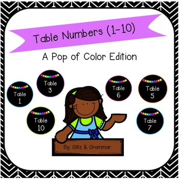 Table Numbers-A Pop of Color