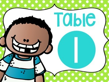 Table Numbers {BLUE & GREEN} with melonheadz kidlettes