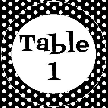 Table Numbers - Black and White Polka Dot