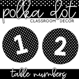 Table Numbers | Black and White Polka Dot Classroom Decor