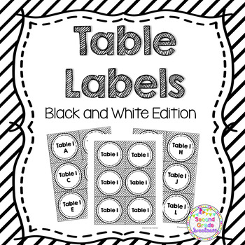 Table Numbers: Black and White Themed Table Tags