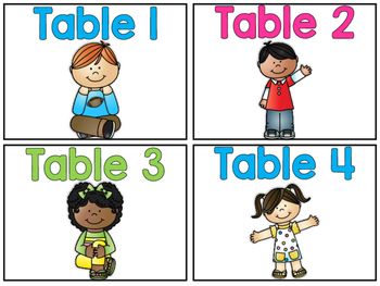 Table Numbers - Blue, Pink, Green Version