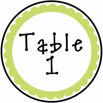 Table Numbers - Blue and Green Design