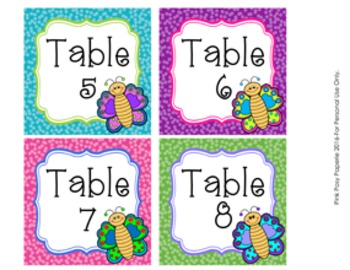 Table Numbers Butterfly Theme Decor