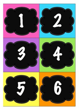 Table Numbers/Center Bin Numbers ~ Bright Colors (Pink, Purple, Green & Blue)