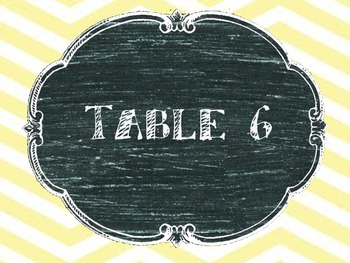 Table Numbers Chevron Set
