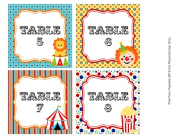 Table Numbers Circus Themed Decor