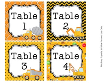 Table Numbers Construction Truck Theme