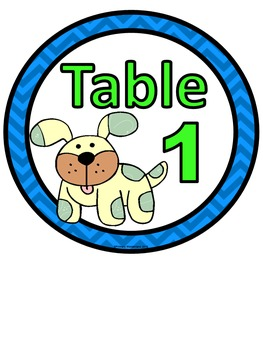 Table Numbers Dog Theme 1-6