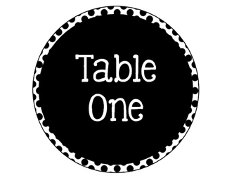 Table Numbers {Editable!} {Turquoise, Black, & Grey!}