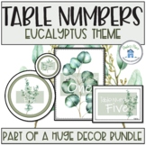 Table Numbers Eucalyptus Theme