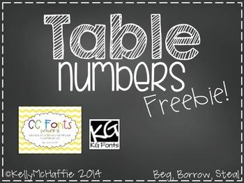 Table Numbers Freebie