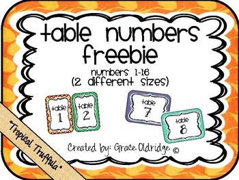 Table Numbers Freebie {Tropical Truffula}