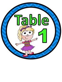 Table Numbers Kid Theme 1-6
