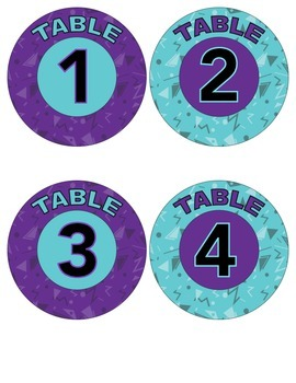 Table Numbers Label 1-8