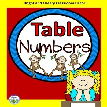 Table Numbers Monkey Theme 1-6