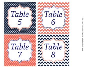 Table Numbers Navy and Coral Theme