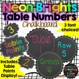 Table Numbers - Classroom Decor - Neon Brights Chalkboard