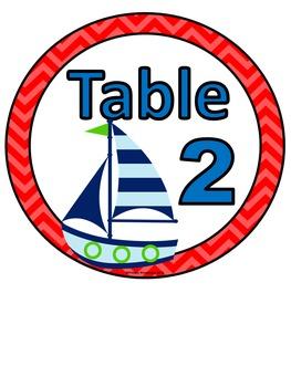 Table Numbers Ocean Theme 1-6