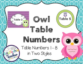 Owl Theme Table Numbers
