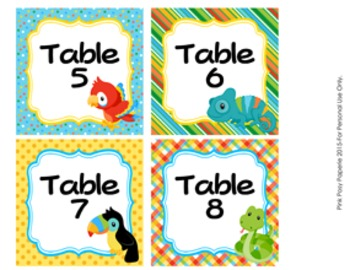 Table Numbers Rain Forest Animal Theme Decor